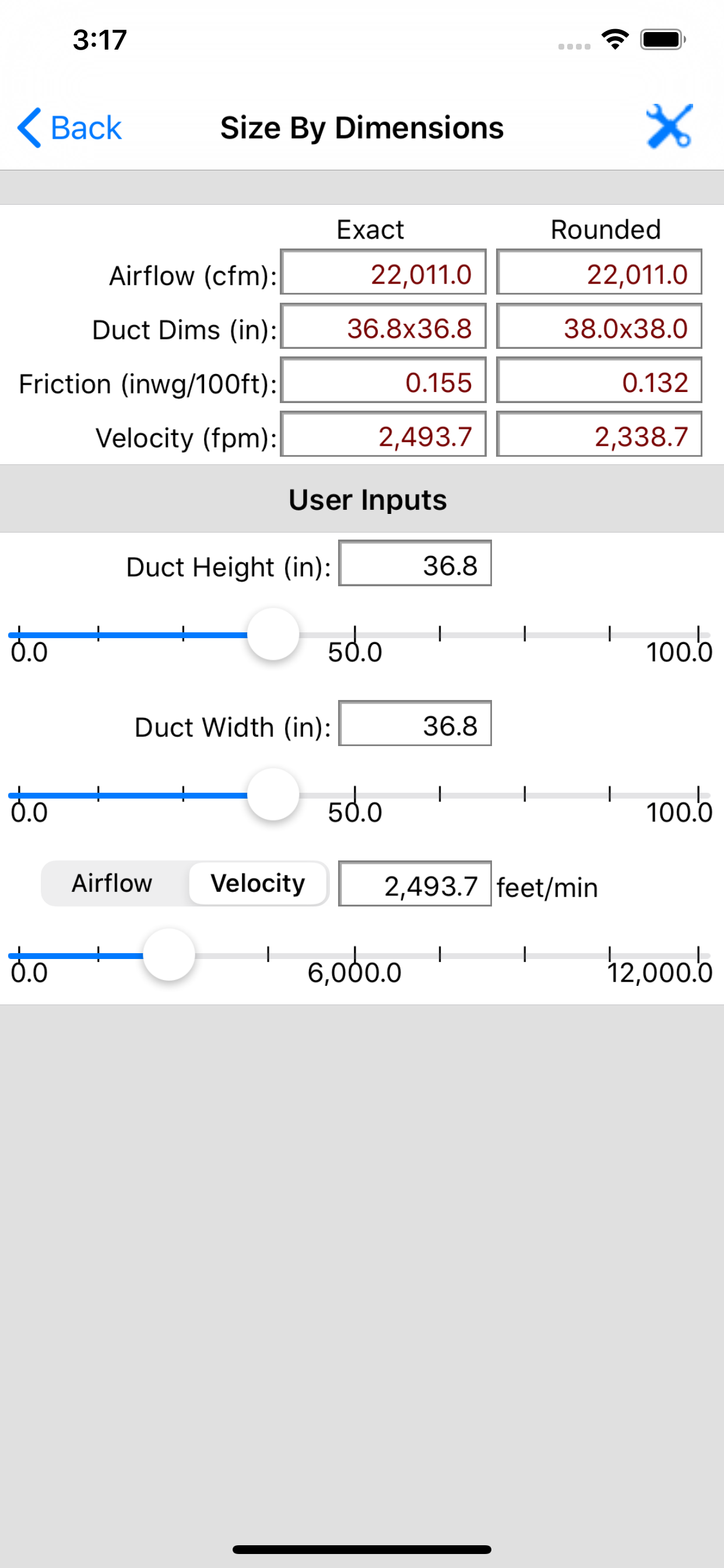 Carmel Software Corporation | HVAC Duct Sizer iOS App