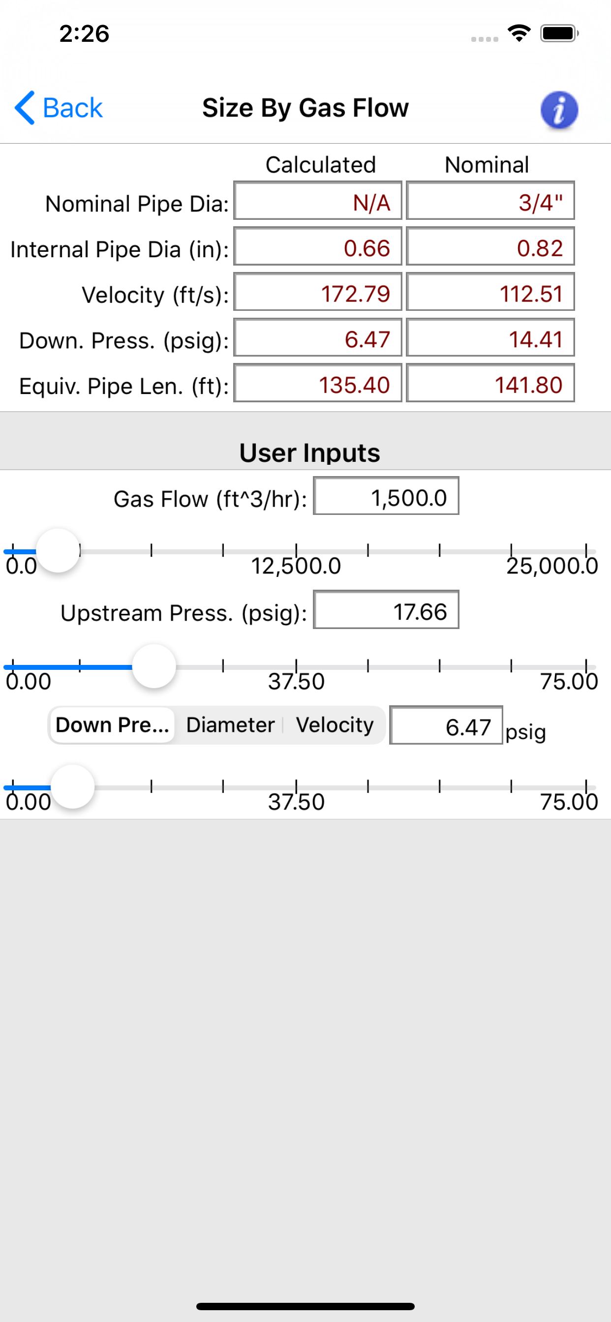 HVAC Pipe Sizer Gas High App